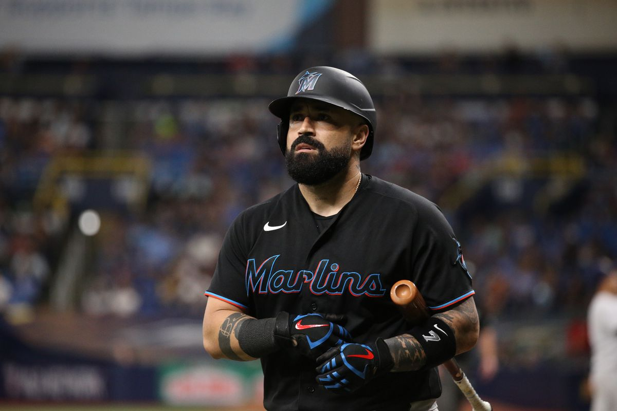 Sandy Leon #7 of the Miami Marlins reacts to his strike out in the top of the fifth inning during the game against the Tampa Bay Rays at Tropicana Field