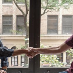 "Demetri Martin and Kevin Kline in ""Dean."""