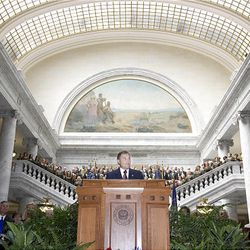 Gov. Gary Herbert addresses the crowd attending his inauguration in the Capitol rotunda on Tuesday.
