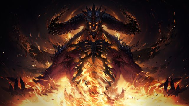 Artwork of Diablo in flames from Diablo Immortal.