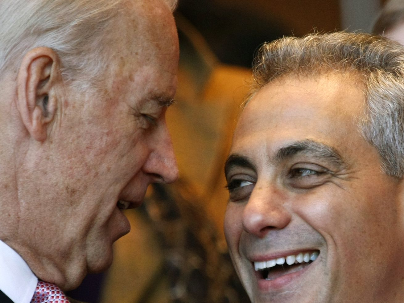 Chicago Mayor-elect Rahm Emanuel, right, shares a laugh with Vice President Joe Biden during inaugural ceremonies Monday, May 16, 2011 in Chicago. (AP Photo/Charles Rex Arbogast)