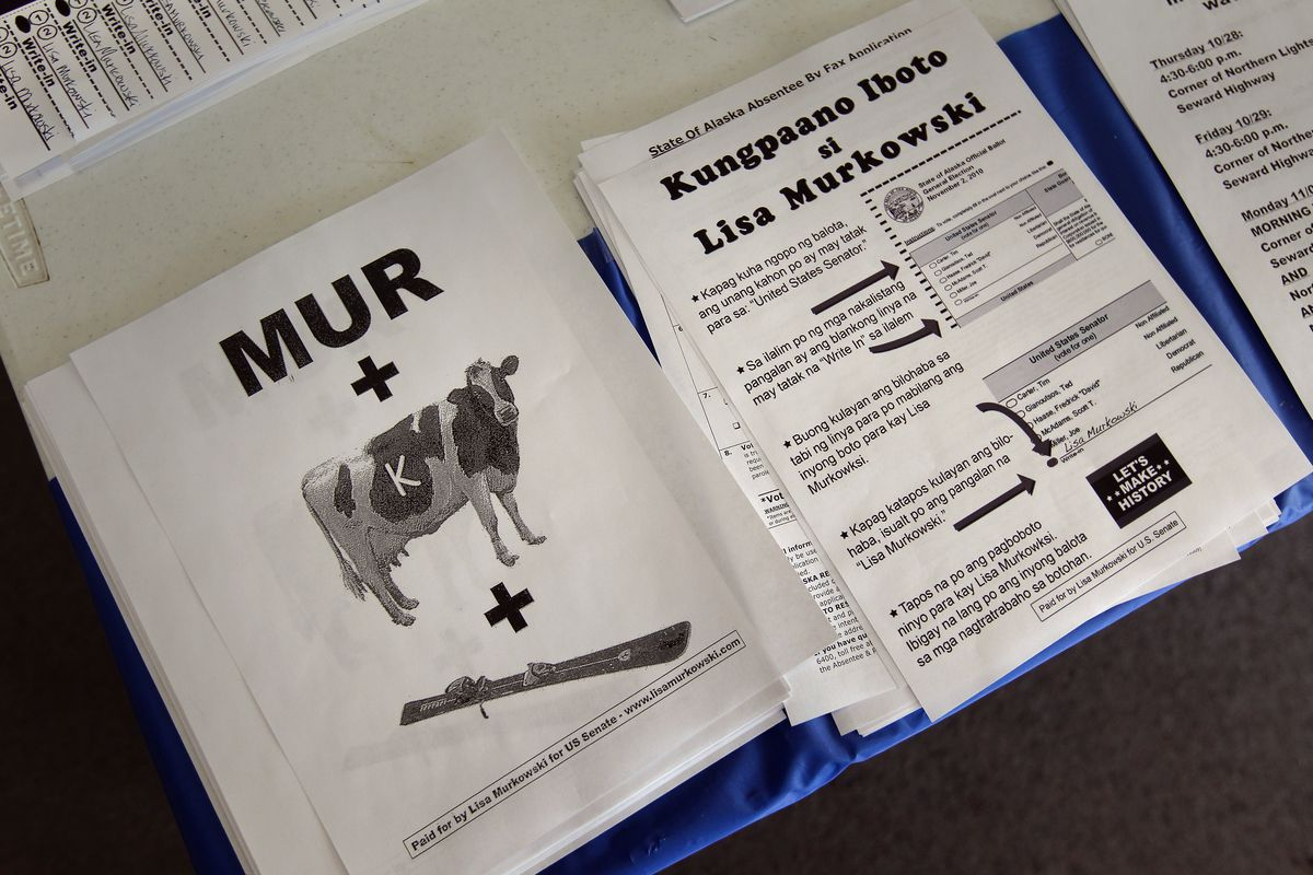 ANCHORAGE, AK - OCTOBER 29:  Campaign literature for U.S. Sen. Lisa Murkowski lies in display at her headquarters on October 29, 2010 in Anchorage, Alaska. Murkowski is running an incumbent write-in campaign after having lost the Republican primary to Tea Party favorite Joe Miller. The Murkowski campaign welcomed an Alaska Supreme Court decision Friday allowing voters to see a list of write-in candidates at polling places.  (Photo by John Moore/Getty Images)