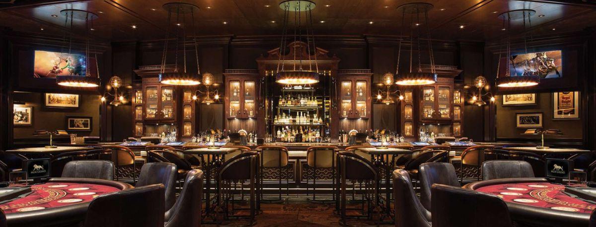 A bar with blackjack tables