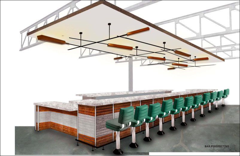 A rendering of Deep End's bar.