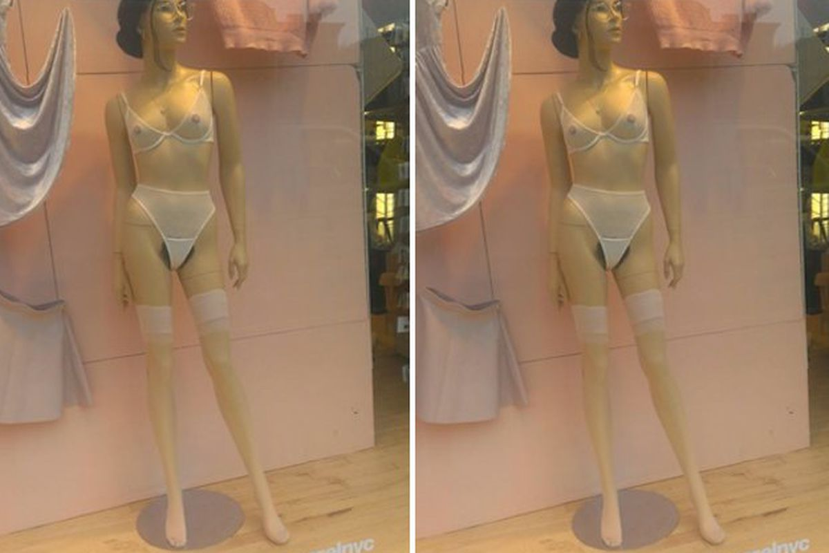 """Photo by Michele Barber-Perry via <a href=""""http://gothamist.com/2014/01/16/american_apparel_mannequin.php"""">The Gothamist</a>"""