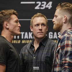 Shane Young and Austin Arnett square off at UFC 234 media day.