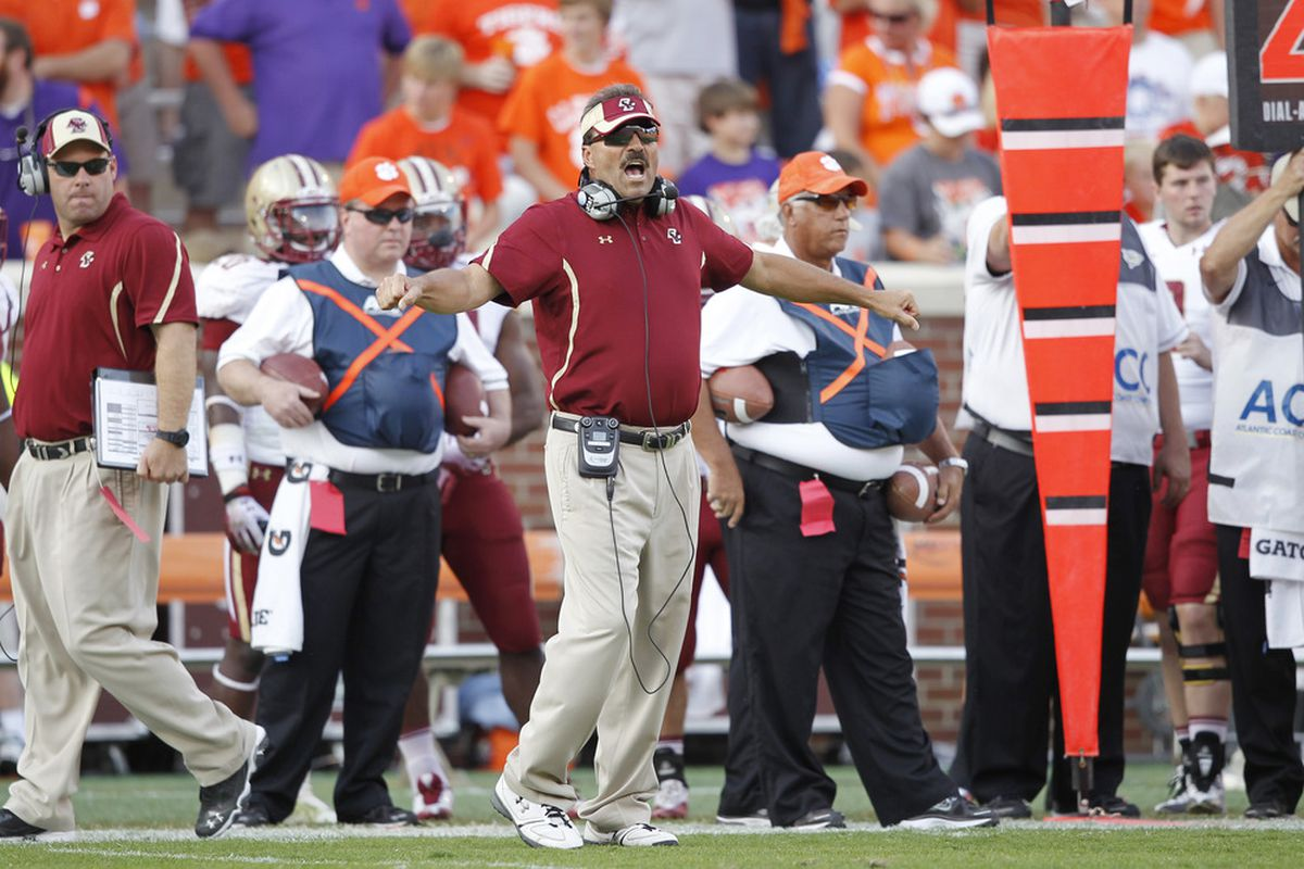 CLEMSON, SC - OCTOBER 8: Boston College Eagles head coach Frank Spaziani looks on during the game against the Clemson Tigers at Memorial Stadium on October 8, 2011 in Clemson, South Carolina. Clemson won 36-14. (Photo by Joe Robbins/Getty Images)