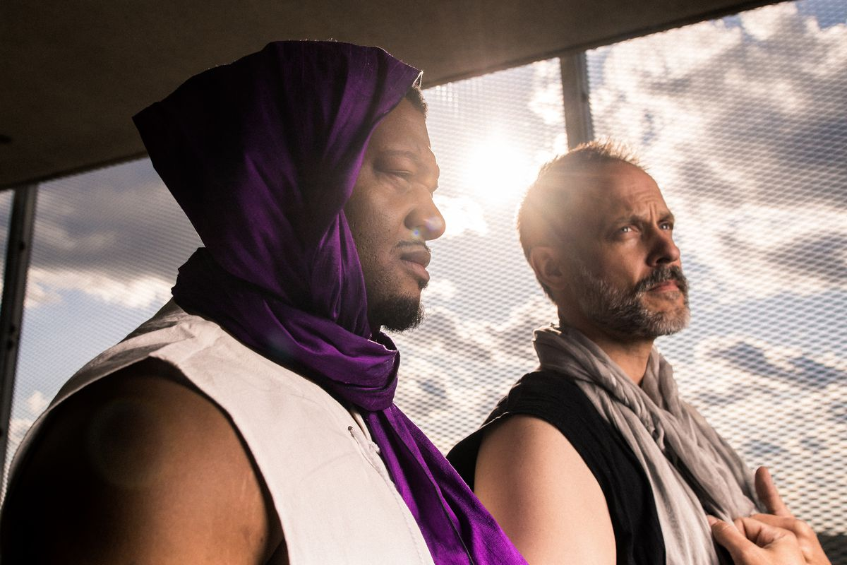 """Kelvin Roston Jr. (left) and Timothy Edward Kane star as Oedipus and Creon, respectively, in the Court Theatre production of """"Oedipus Rex."""""""