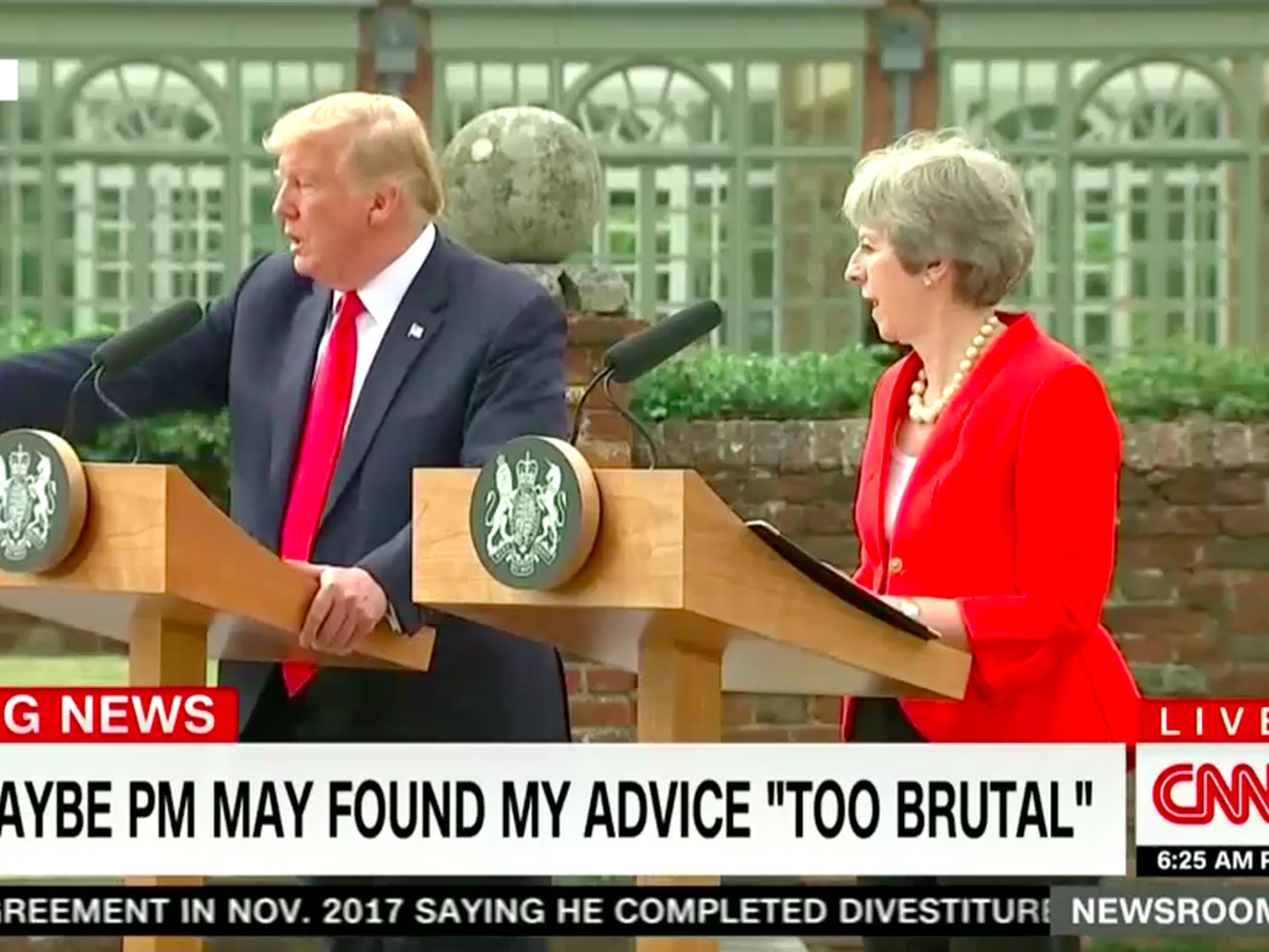 Trump refused to answer CNN's questions at a press conference with UK Prime Minister Theresa May.