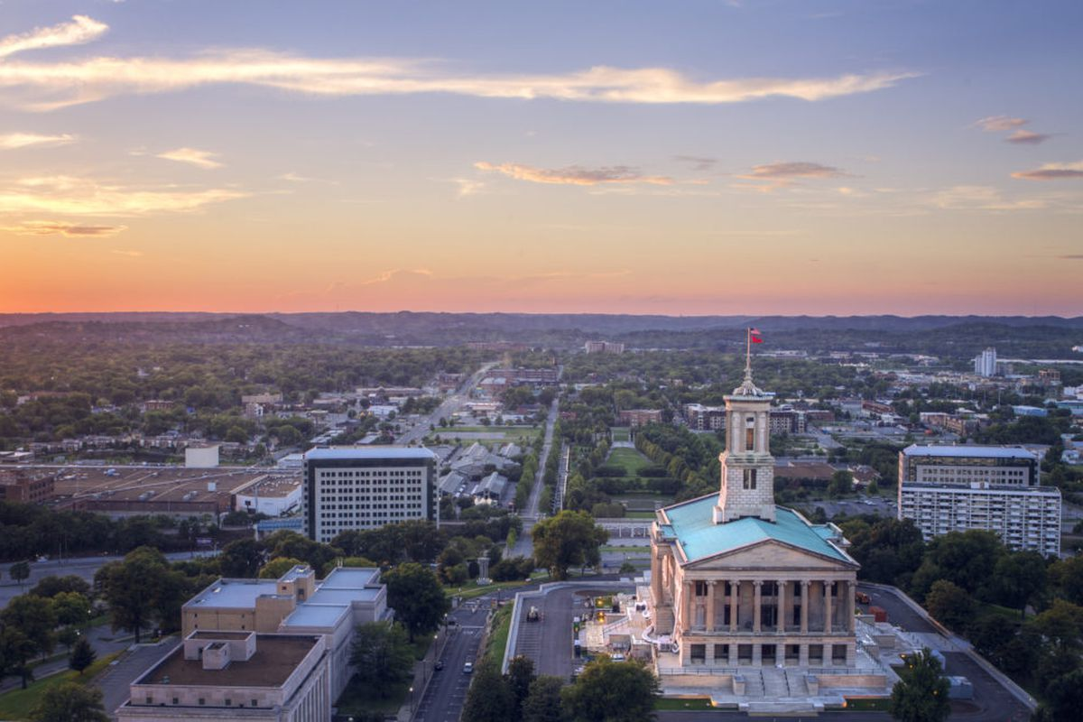 A birds eye view of the Tennessee State Capitol building in Nashville