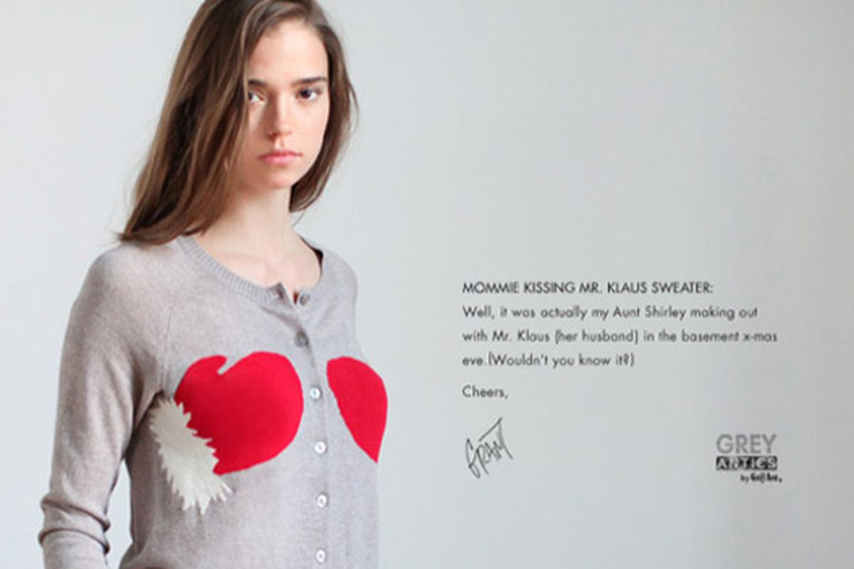 """We'd look bummed, too, if we paid $78 (plus tax and shipping) for this Christmas sweater. Image via <a href=""""http://www.urbanoutfitters.com/urban/catalog/productdetail.jsp?_dyncharset=ISO-8859-1&amp;navAction=jump&amp;id=17584814"""">Urban Outfitters<"""
