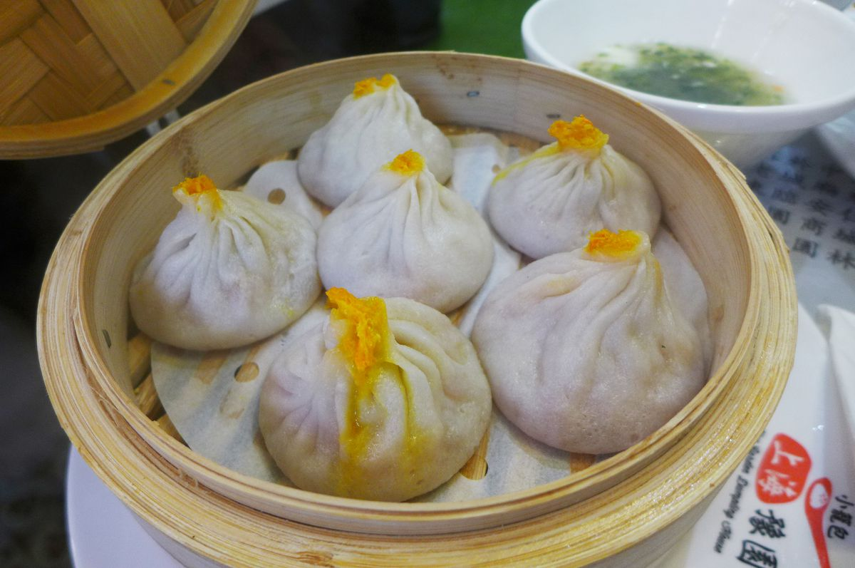 Shanghai soup dumplings with crab