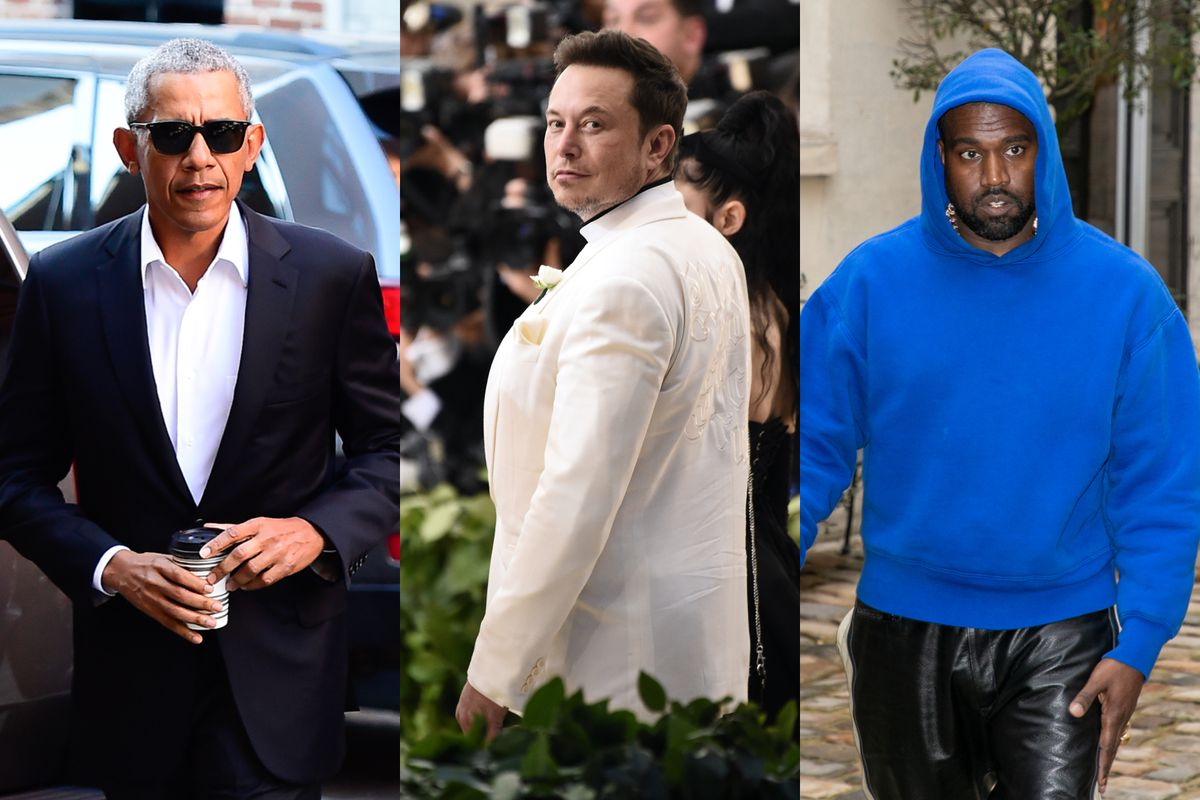 Barack Obama, Elon Musk, and Kanye West appear in a triptych.
