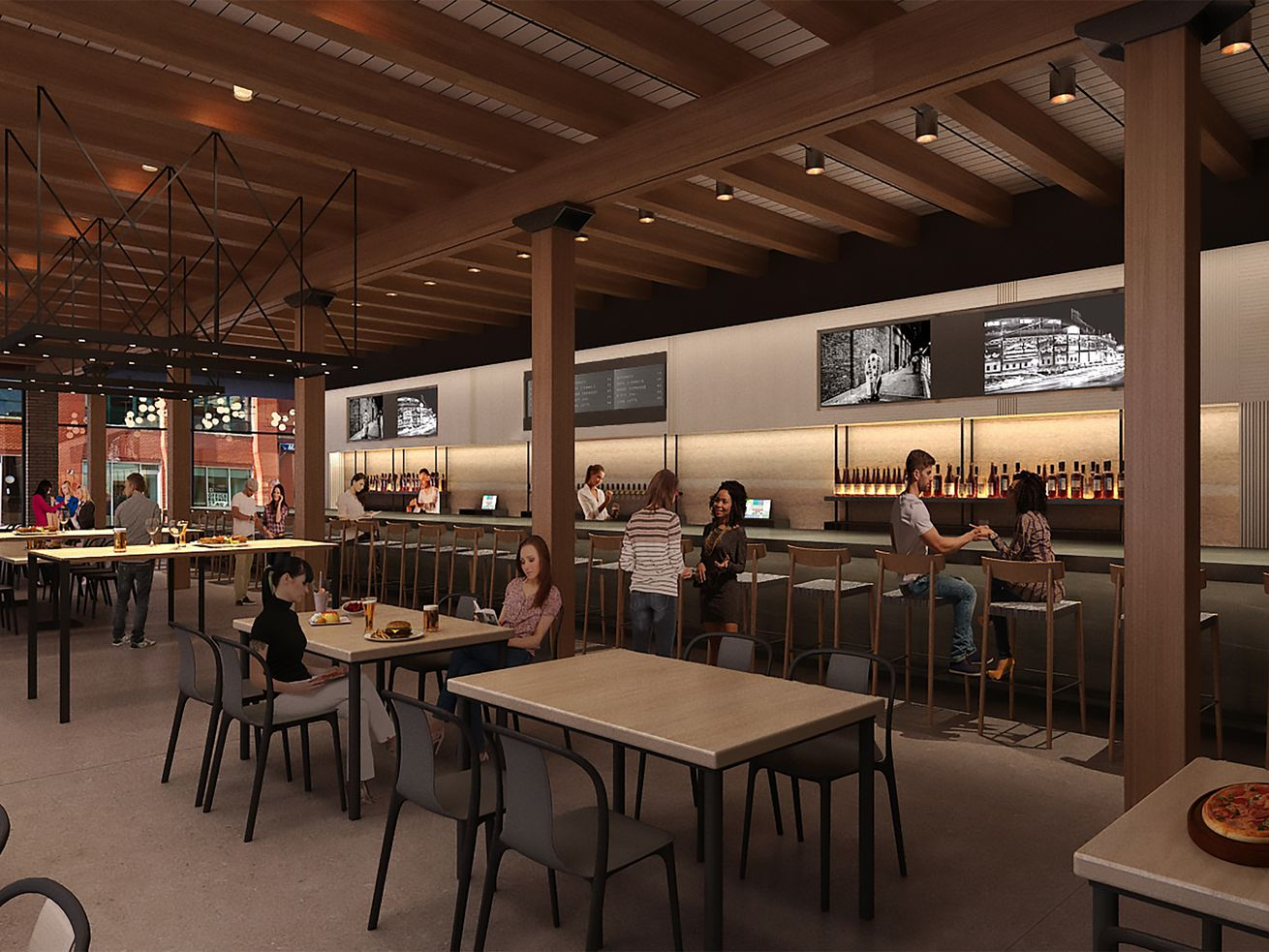 A rendering of an upcoming Fulton Market food hall.