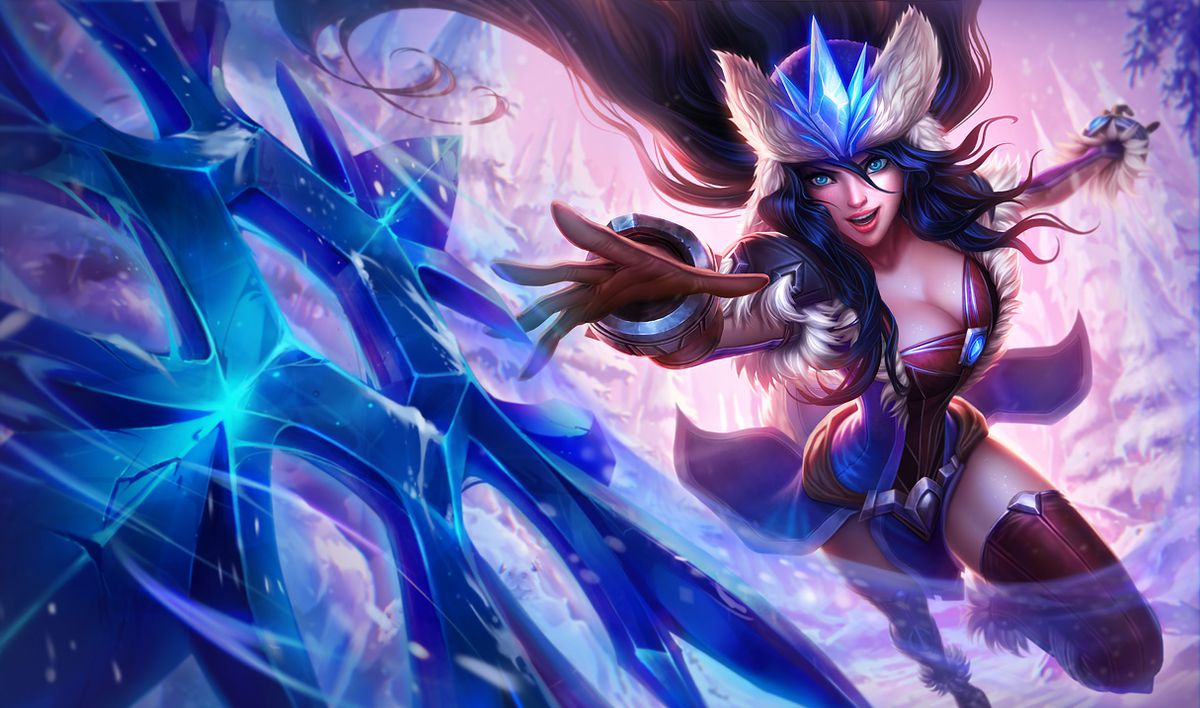 Winter Wonder Sivir throws her snowflake weapon towards the viewer