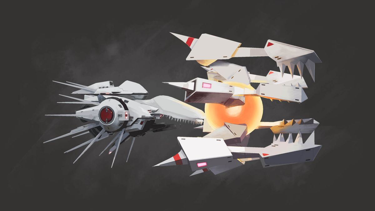 Concept art for the ship White Requiem from R-Type Final 2