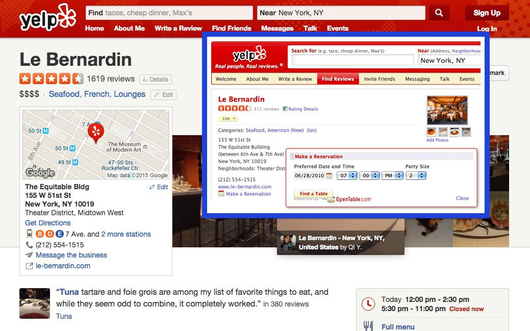 Inset, OpenTable's functionality was available on Yelp in 2010; Today, a Yelp page includes no mention of OpenTable