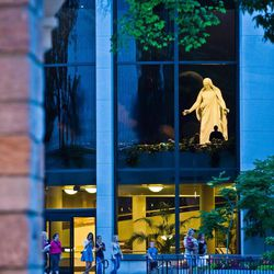 A view of the Christus statue in the North Visitors' Center on Temple Square in Salt Lake City.