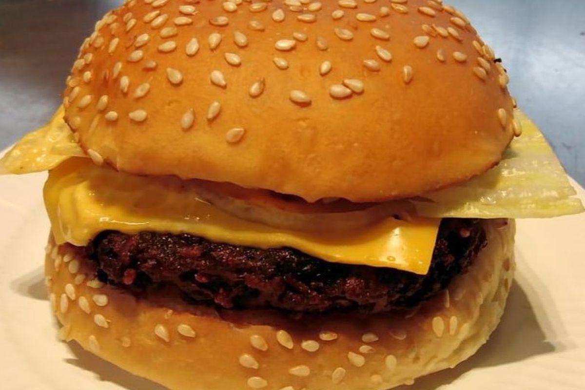 "The new Bleecker vegetarian burger made with a vegan ""Symplicity"" patty"