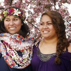 Taffy Markowitz, left, poses with her daughter Catalina, second from left, and family members Shylette Tuia, second from right, and Angeline Tuia, right, after Spring Commencement Exercises at BYU Thursday, April 19, 2012 in the Marriott Center.