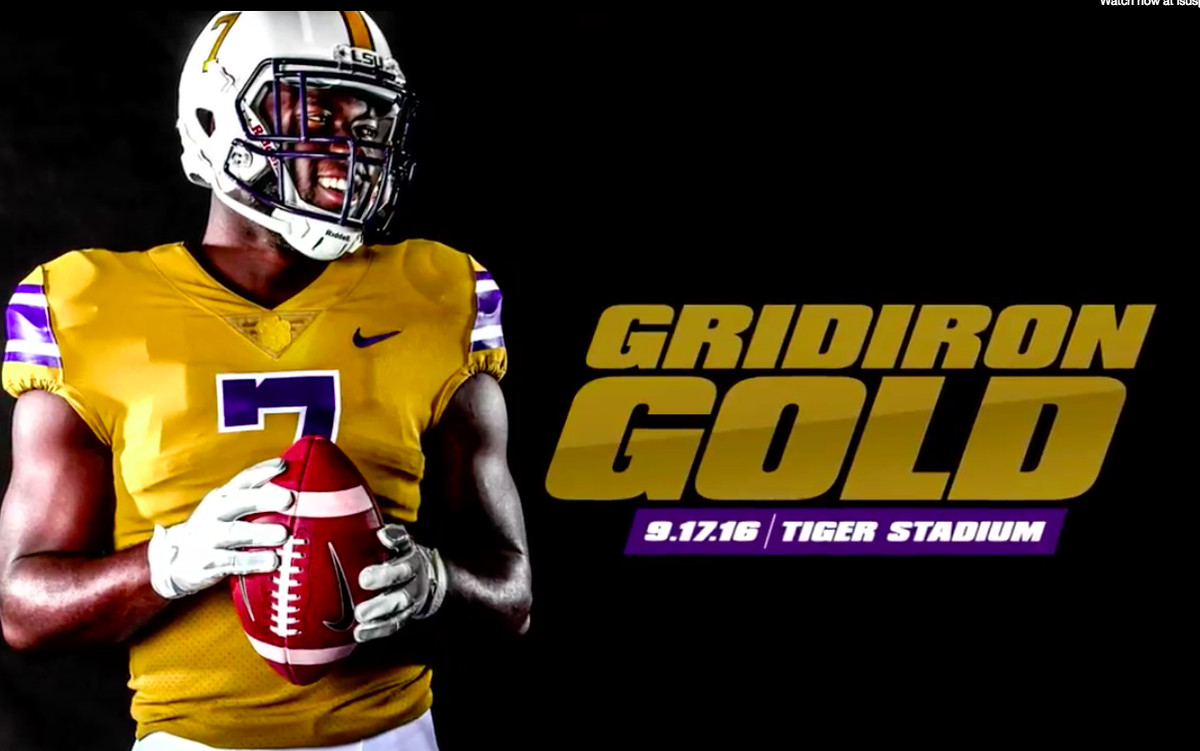 "3e0eb9cda15 On Monday, LSU announced that they would be wearing throwback ""Gridiron  Gold"" jerseys to pay tribute to the ones worn in the 1940s."