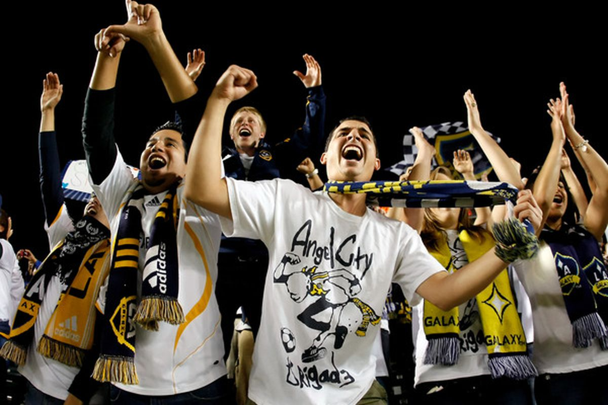 CARSON, CA - APRIL 17:  Los Angeles Galaxy fans celebrate following the Galaxy's 2-1 victory over Real Salt Lake at the Home Depot Center on April 17, 2010 in Carson, California.  (Photo by Jeff Gross/Getty Images)