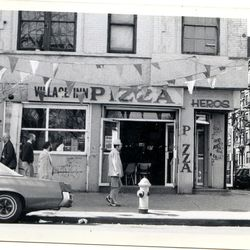 """Village Inn Pizza, Ave A at St. Mark's Place, circa 1979. <span class=""""credit""""> <a href=""""http://farm3.static.flickr.com/2501/4194918974_9cf8c7daed_o.jpg/"""">[link}</a></span>"""