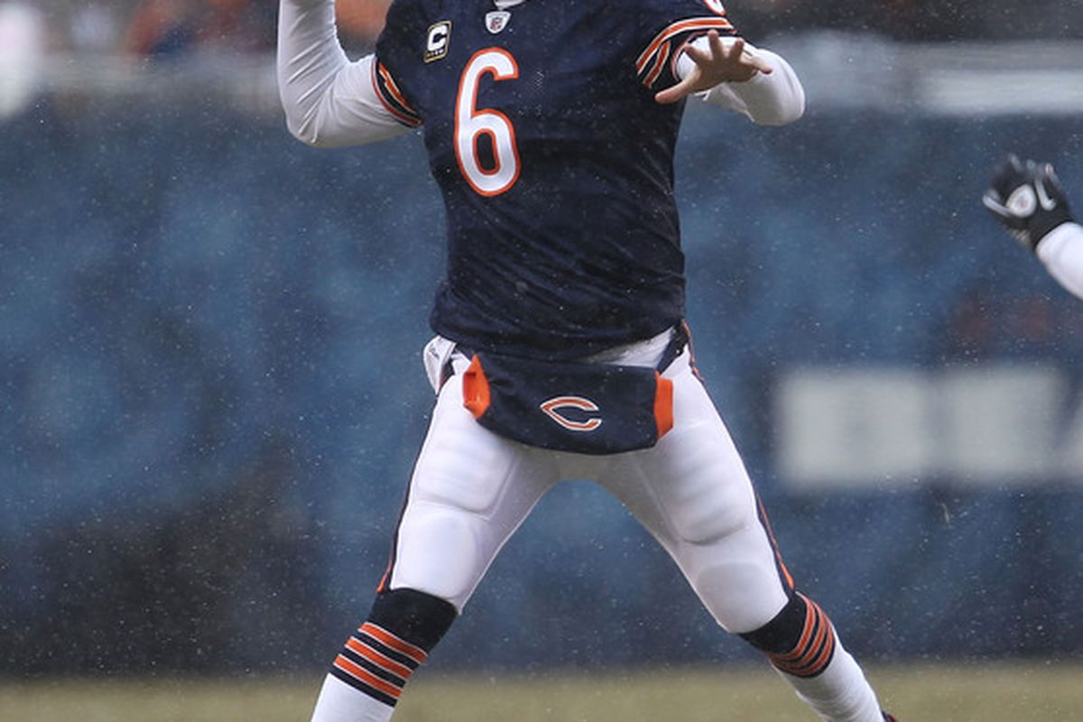 Jay Cutler of the Chicago Bears throws a pass against the New York Jets at Soldier Field on December 26 2010 in Chicago Illinois. (Photo by Jonathan Daniel/Getty Images)