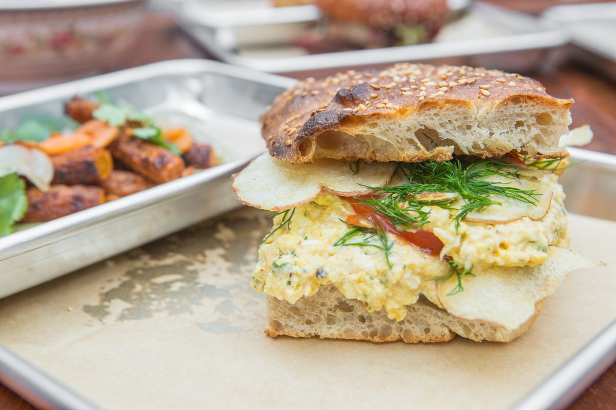 The egg salad-pimento cheese sandwich at Sour Duck