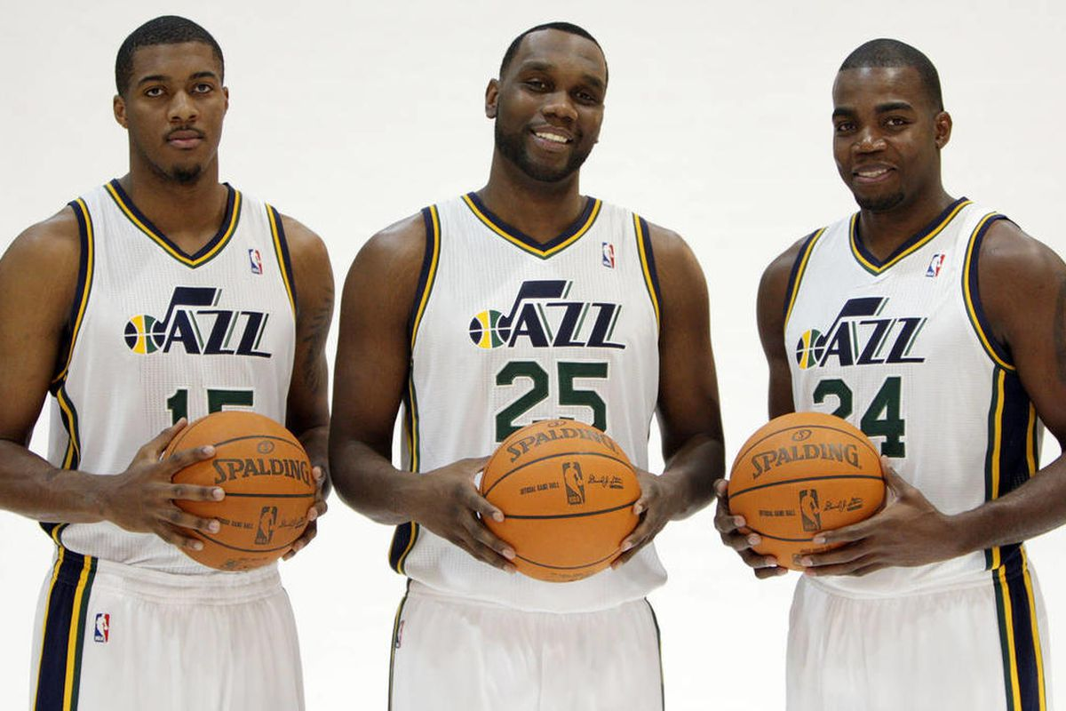 Utah Jazz players Derrick Favors,  Al Jefferson, Paul Millsap is photographed during media day at the Zions Bank basketball center in Salt Lake City  Friday, Dec. 9, 2011.