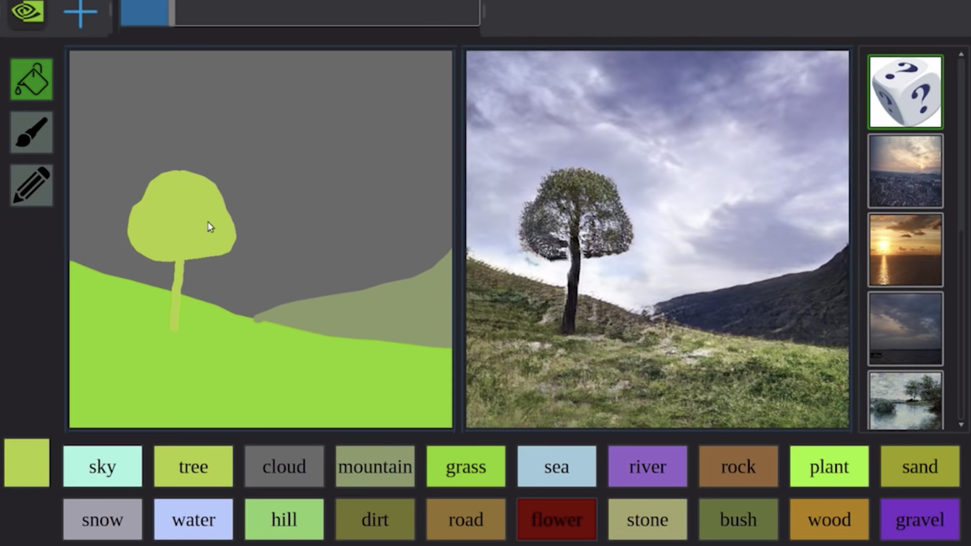 Image result for Nvidia's latest AI software turns rough doodles into realistic landscapes