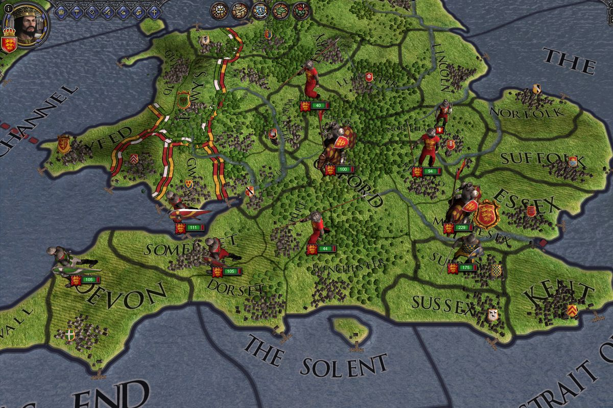 Crusader Kings 2 - a shot of a map, where a player controls territories and can examine their holdings.