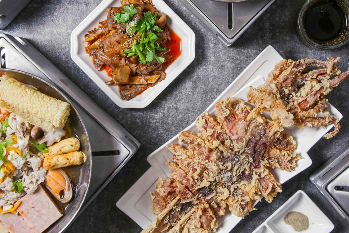 The cracken fried giant squid and individual hot pots at teh southwest's new Alleyway Hot Pot.