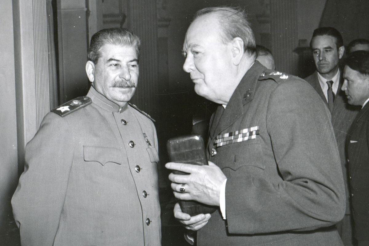 Stalin and Churchill at Yalta.