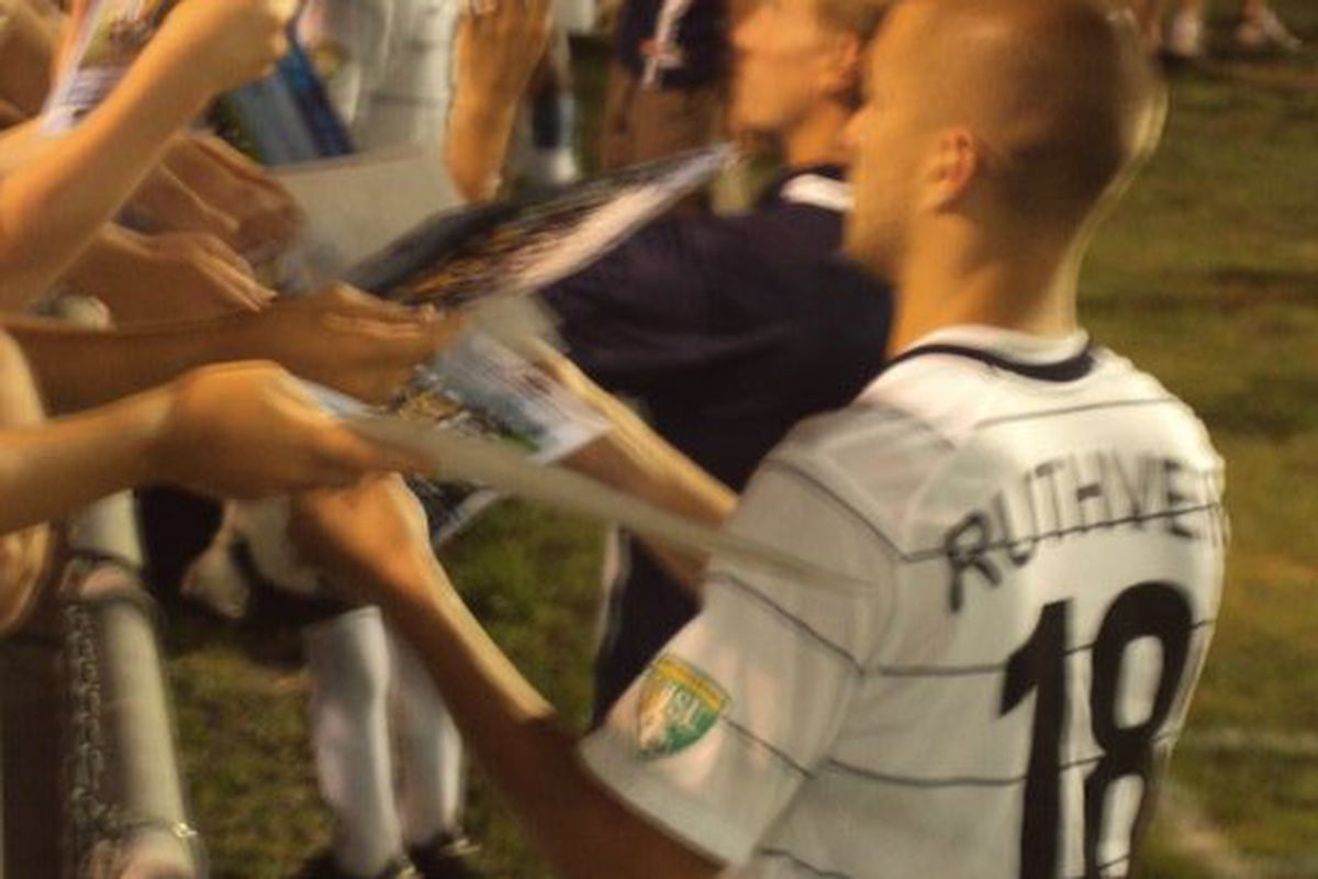 Former Harrisburg Islanders defender Tyler Ruthven greets the team's fans after a game (Courtesy of Tyler Ruthven).