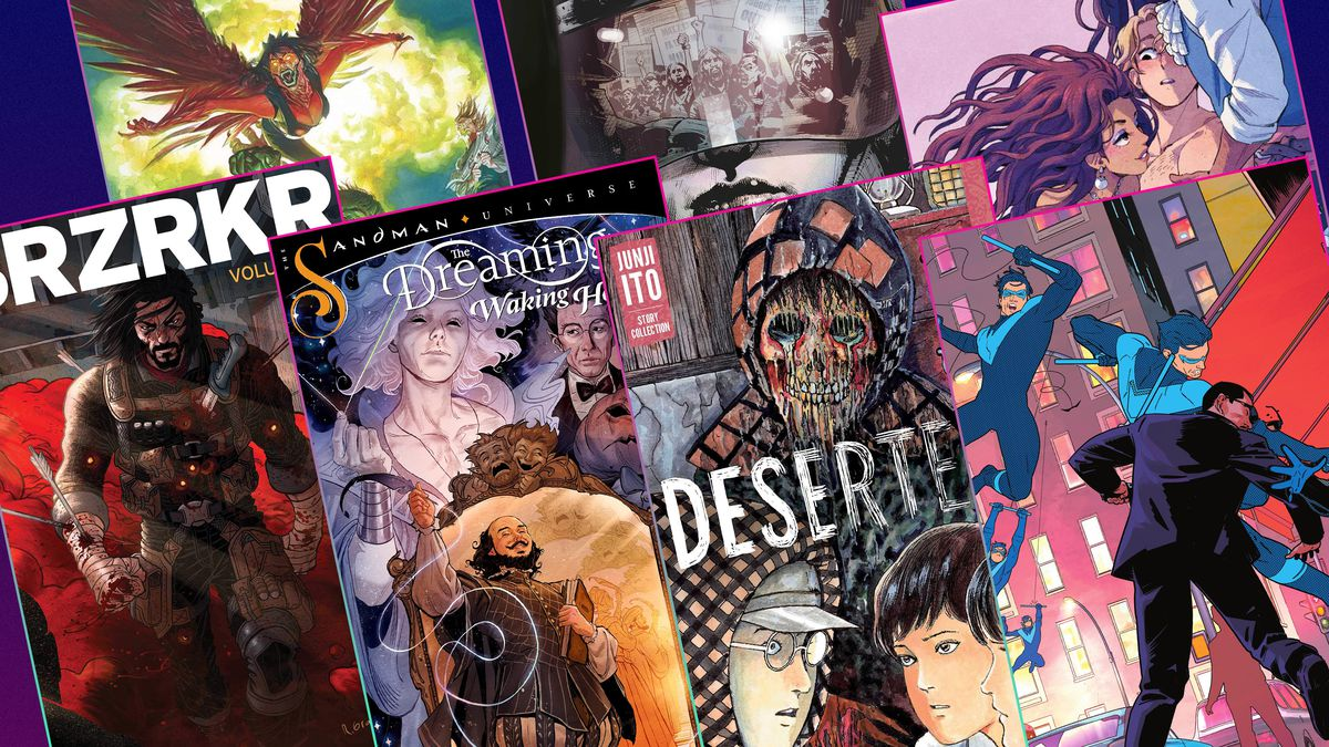 Graphic grid featuring the covers of seven different comic books and graphic novels
