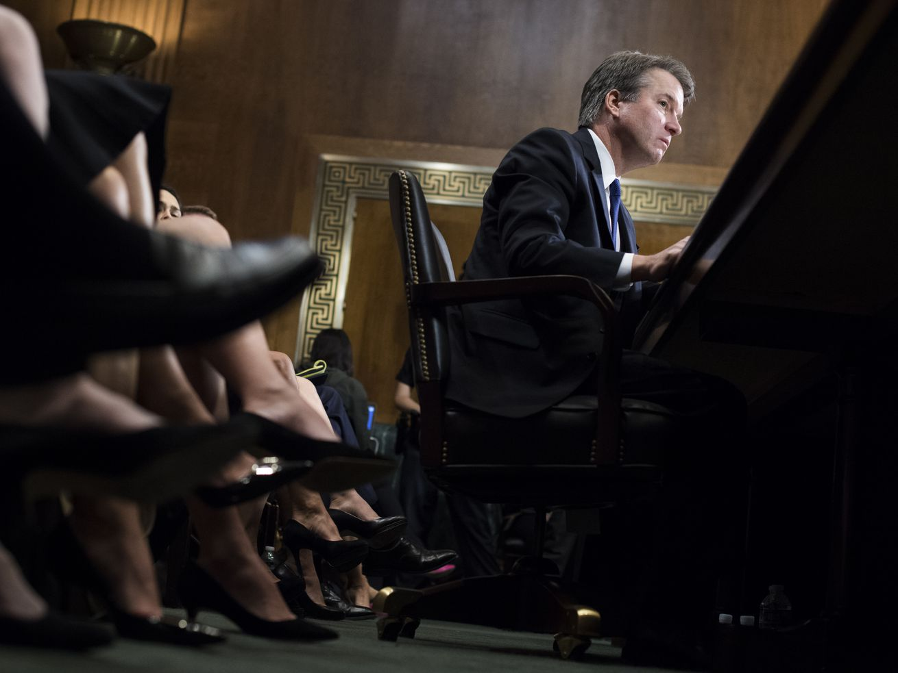 Judge Brett Kavanaugh testifies during the Senate Judiciary Committee hearing on his nomination be an associate justice of the Supreme Court of the United States, focusing on allegations of sexual assault from Christine Blasey Ford in the early 1980s.