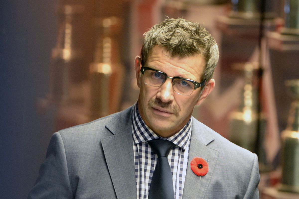 Nov 11, 2014; Montreal, Quebec, CAN; Montreal Canadiens general manager Marc Bergevin speaks at a press conference