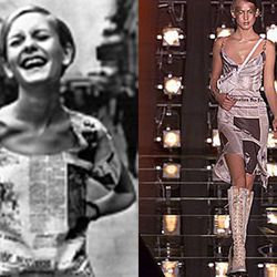 Left, Twiggy in the original Dior newsprint dress. Right, the John Galliano version from 2000.