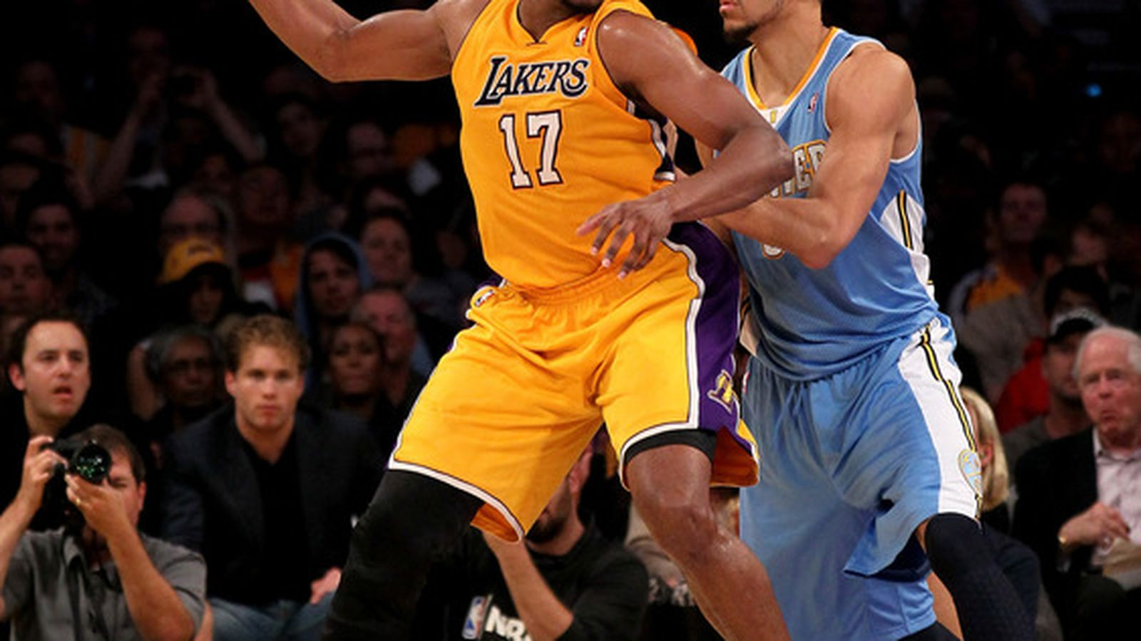 The Los Angeles Lakers take on the Denver Nuggets at the Valley View Casino Center