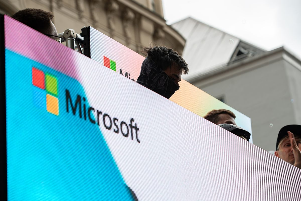 The Microsoft logo on July 13, 2019, during Pride Day in Munich, Germany.