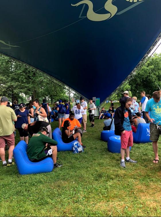 A photo of Team Mystic's tent at Pokémon Go Fest 2018.
