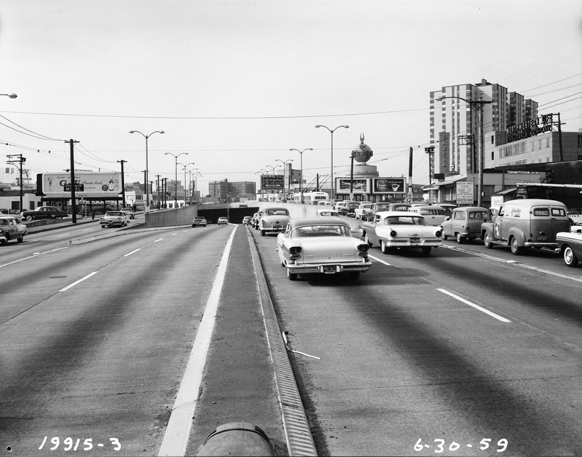 Cars are on a road leading to the Battery Street Tunnel in Seattle.