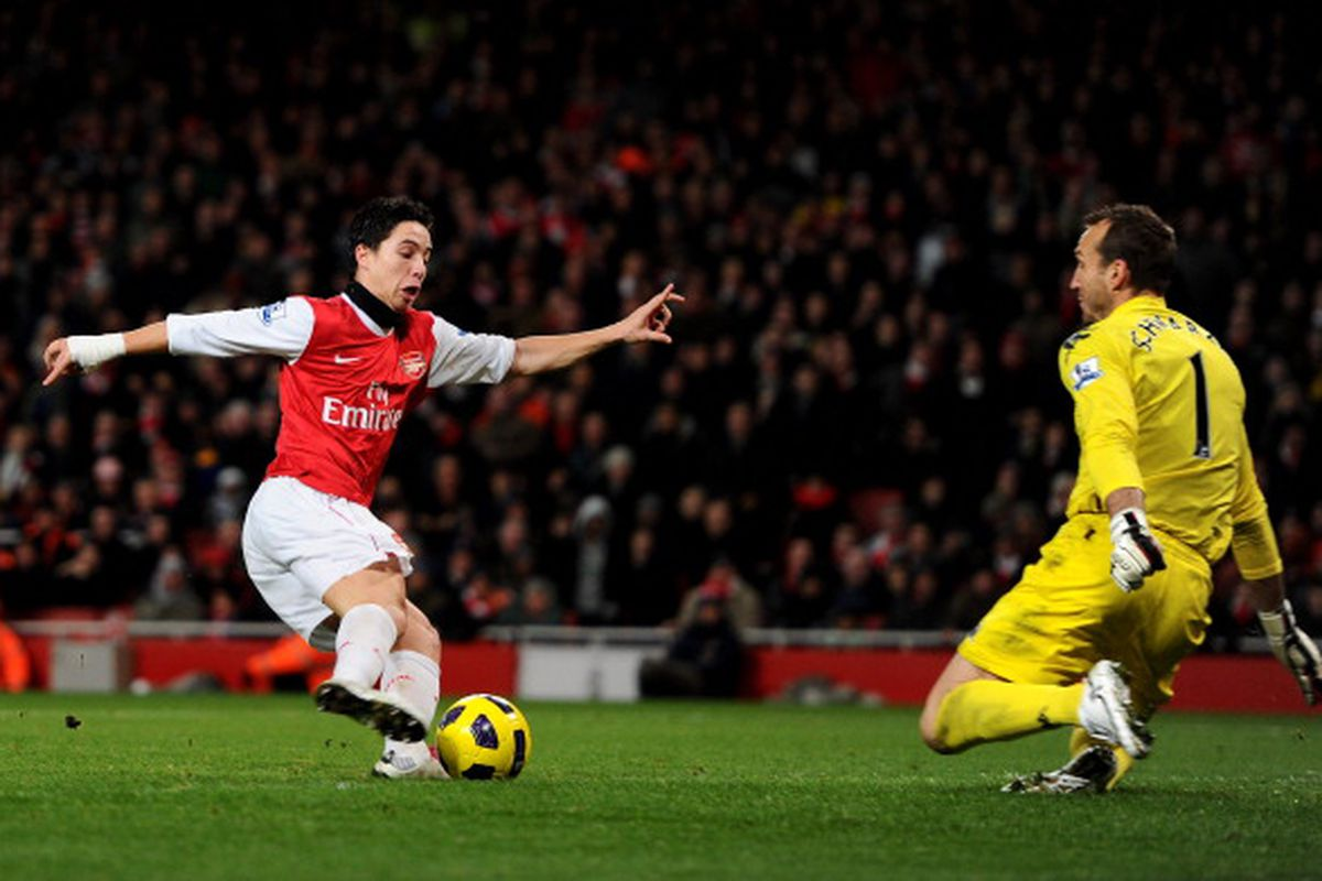 Nasri scores his second shortly hereafter. (Photo by Mike Hewitt/Getty Images).