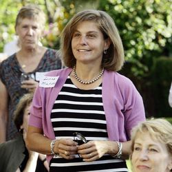 Donna McAleer listens during a fundraising event for Hispanic candidates for Utah Legislature in Salt Lake City on Tuesday, Aug. 28, 2012.