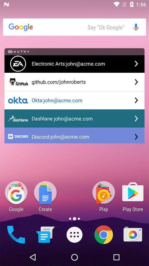 Authy homescreen widget on Android