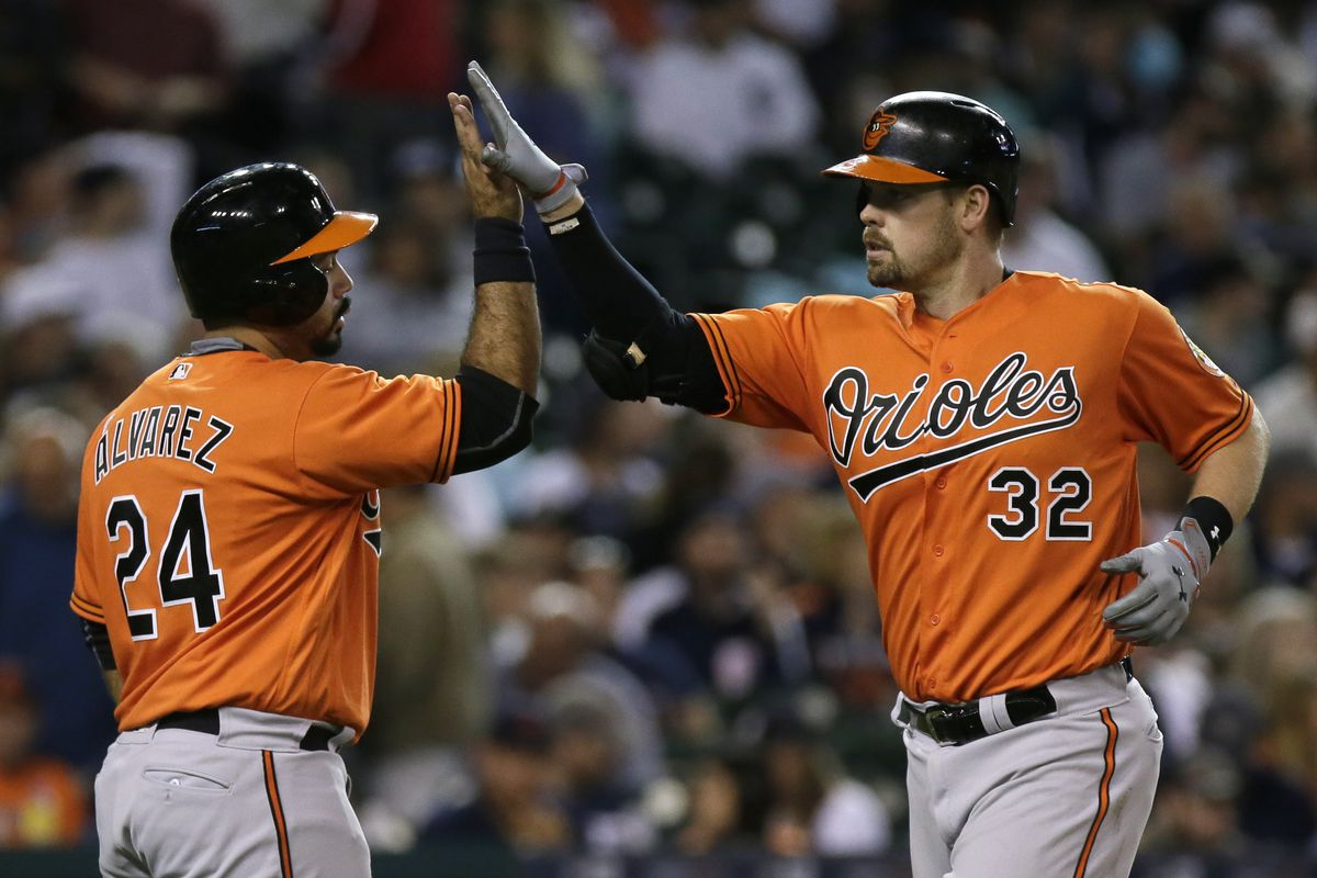 Matt Wieters and Pedro Alvarez celebrate Wieters hitting a home run in Detroit.