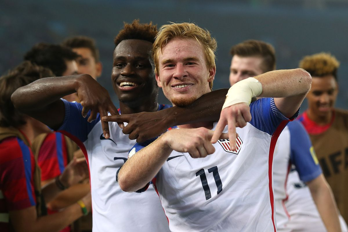 NEW DELHI, INDIA - OCTOBER 16: Andrew Carleton of United States of America celebrates scoring his teams 3rd goal during the FIFA U-17 World Cup India 2017 Round of 16 match between Paraguay and USA at Jawaharlal Nehru Stadium on October 16, 2017 in New Delhi, India. (Photo by