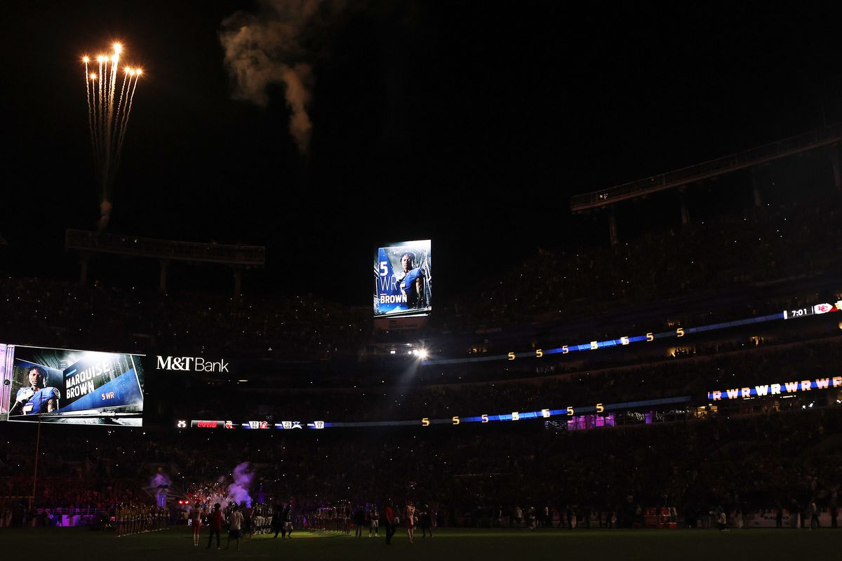 A general view as Marquise Brown #5 of the Baltimore Ravens is introduced prior to the game against the Kansas City Chiefs at M&T Bank Stadium on September 19, 2021 in Baltimore, Maryland.