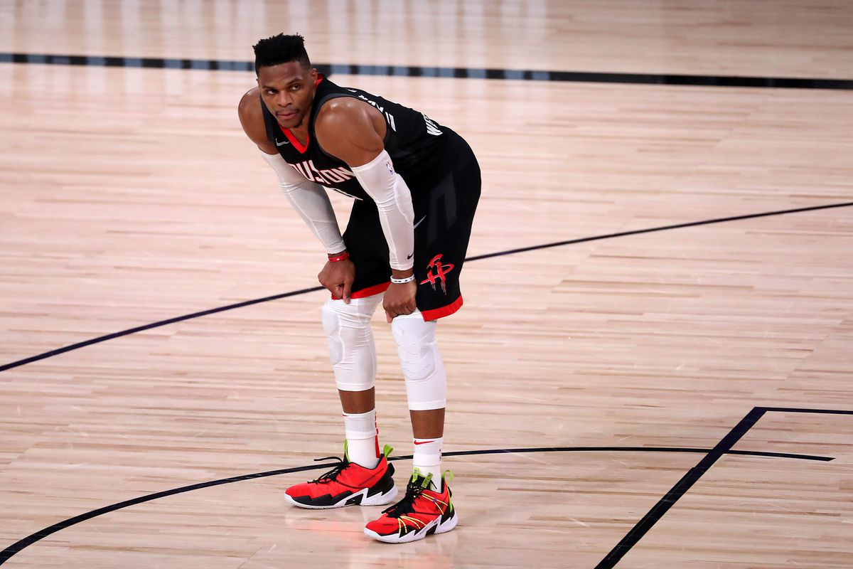 Russell Westbrook of the Houston Rockets during the fourth quarter against the Los Angeles Lakers in Game Five of the Western Conference Second Round during the 2020 NBA Playoffs at AdventHealth Arena at the ESPN Wide World Of Sports Complex on September 12, 2020 in Lake Buena Vista, Florida.